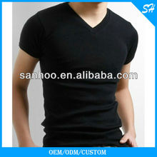 Hot Sale Fashion V-Neck Tshirt With Custom Color