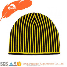 Black and Yellow stripe beanie hat with custom logo and size
