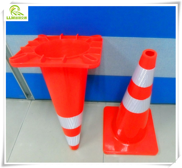 Flexible orange road safety PVC foldable 90mm signal cone
