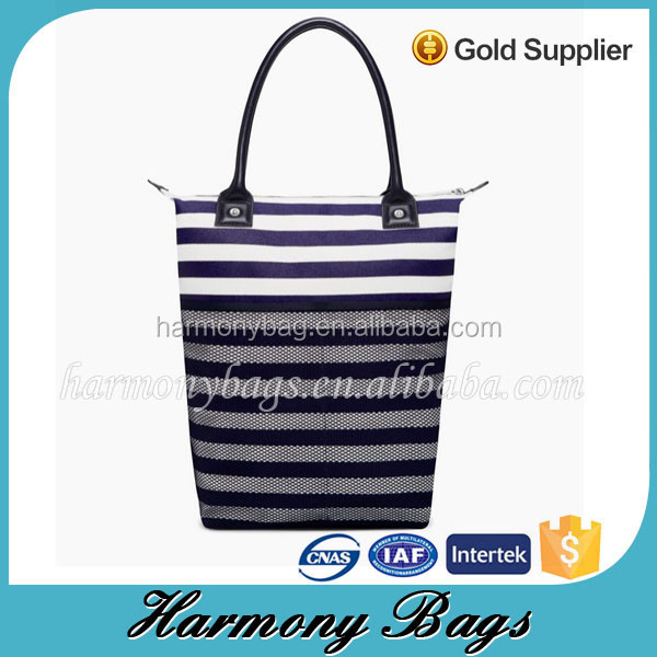 2015 wholesale cross stripe extra large waxed canvas tote bag with mesh