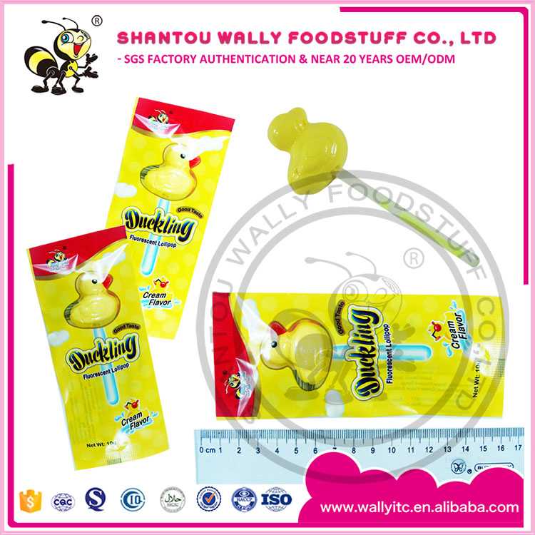 YELLOW DUCK GLOW STICK LOLLIPOP CANDY