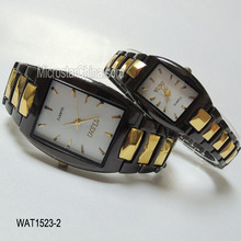 Black and gold steel quartz cute couple watch