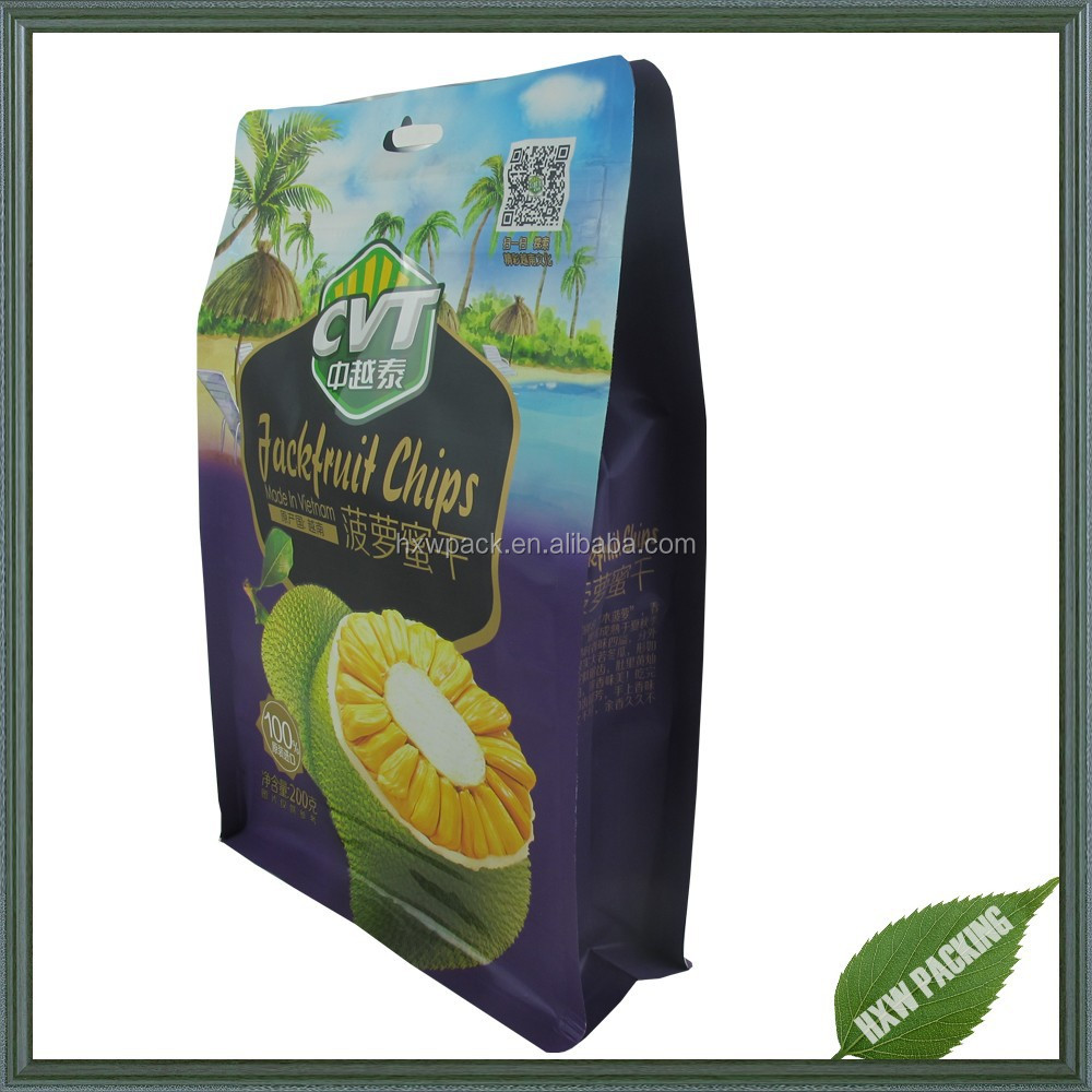 Stand up flat bottom plastic snack food packaging bag with zipper