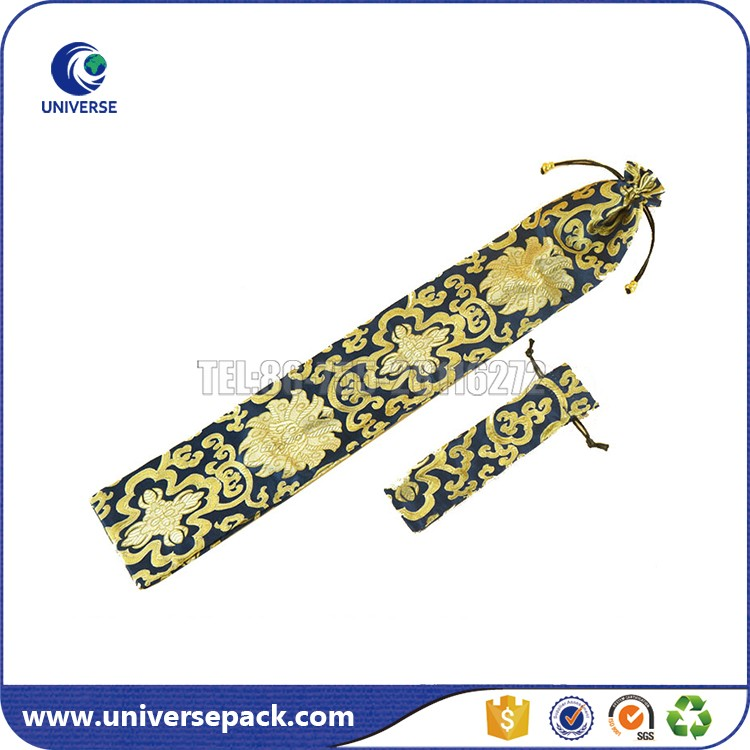 Custom Size Brocade Pen Bag With Drawstring