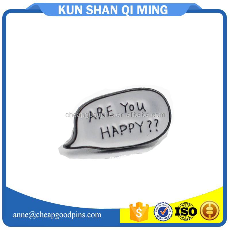 2017 are you happy message shape lapel pins no moq