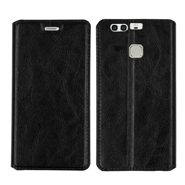 C&T Genuine Leather Case Wallet Flip Stand Cover for Huawei P9