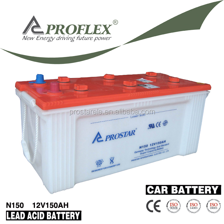 High quality JIS standard N150 12v 150ah dry charged auto car battery