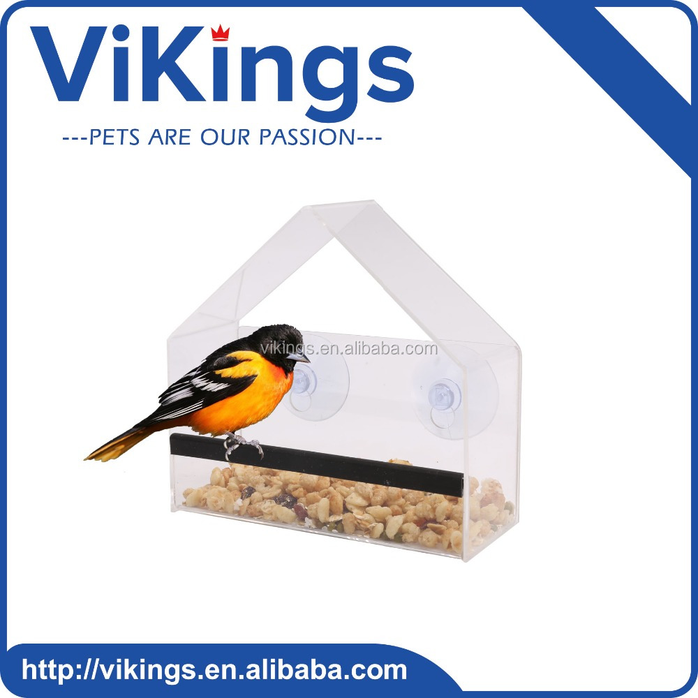 Customized clear outdoor high hardness acrylic window bird feeder with removable wholesale