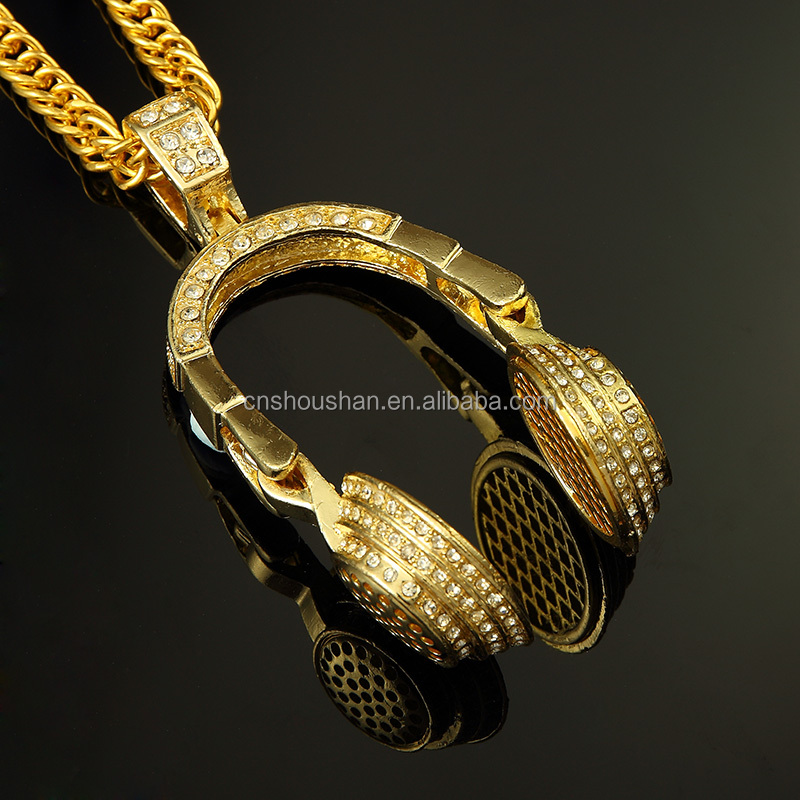 HIP HOP Golden Microphone Pendant Style Plated Necklace Fashion Men/Women Popular 18K Gold Filled jewelry For Man