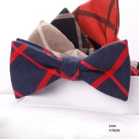 Hot Sale Flashing Check Mens Causal Linen Bow Ties