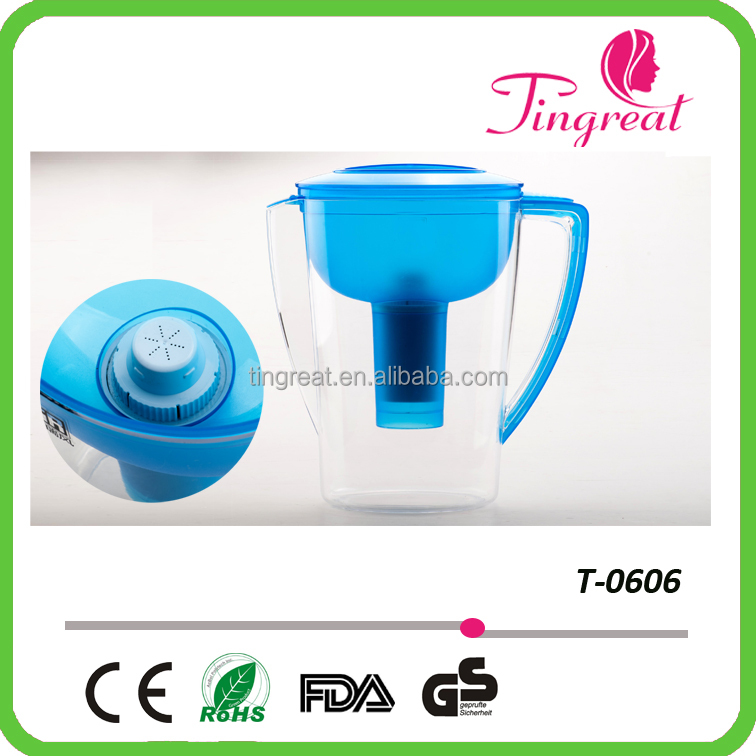 High Quality and Ultra-low Price colorful plastic water filter pitcher with good design