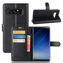 New arrival Lichee Wallet PU Leather Phone Case Back Cover With Card Slots For Samsung Galaxy Note 8
