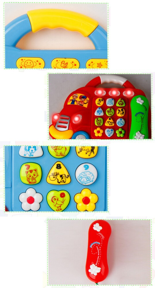 New car shapedtoy phone with lights and music educational toys