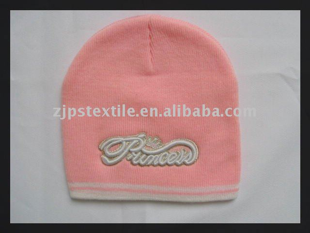 3D Embroidered Princess Logo Pink Winter Beanie for girls