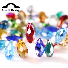 XQA07 6*12mm Crystal Drop Earrings Water Hollow Glass Beads For Jewelry Making