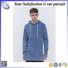 Hot long line blank pullover men plain fitted long ski hoodie