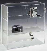 Customized Locking Door Acrylic Countertop Display Case with 2 Shelves and Hinged