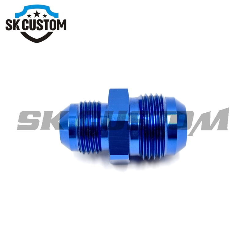AN Universal Aluminum Straight Male Flare Union Adapter Fittings Blue / Black