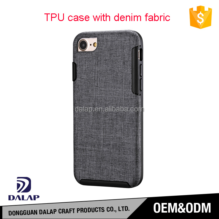 2017 newest unique product custom tpu demin fabric mobile phone leather case for iphone 7