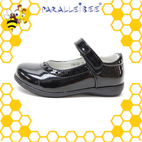 PU leather non slip black healthy student shoes girl shoe
