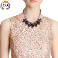 NYQ-00212 cheap wholesale custom name design sexy punk style rhombus blue/amber plastic lariat necklace