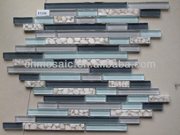 2013 series 15x48 15x98 15x198mm new style brick glass mosaic mix resin stone mosaic tile for bathroom decoration