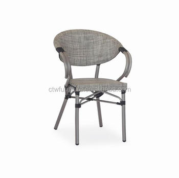 durable outdoor stackable mesh fabric bamboo like aluminum chair