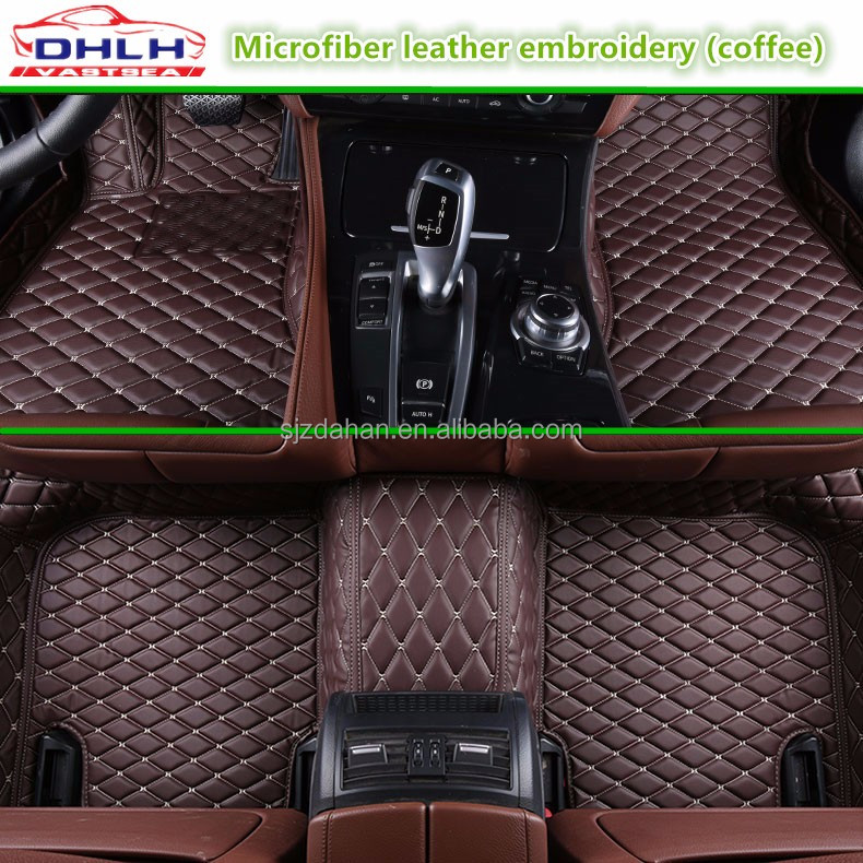 Embroidered leather coffee 5D car floor mats for Porsche Macan Car accessories
