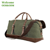 KID custom waxed canvas and leather classic weekend waterproof men travel duffel bag