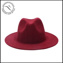 winter plain dyed wool felt fedora hat with custom decoration