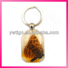 Real butterfly specimen amber polyresin key chain