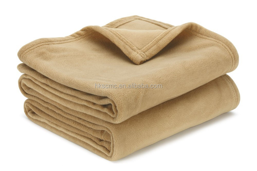 Polyester Cheap Coffee Colour Two-sides Brushed Polar Fleece Blanket