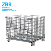 Heavy duty Warehouse Foldable Galvanized Metal Wire Mesh Pallet Storage Cage