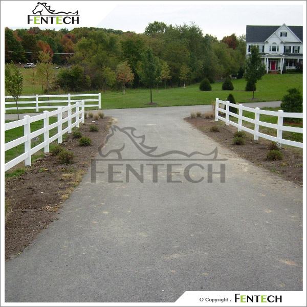 Fentech White 3 Rail PVC Vinyl Horse Fence Recycled Plastic Fence