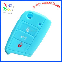 Durable Silicone Car Remote Key Case with High Quality for VW- Glowing Blue