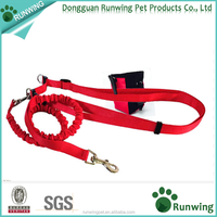 factory direct sale premium Nylon hands free dog leash with Waist Bag pocket