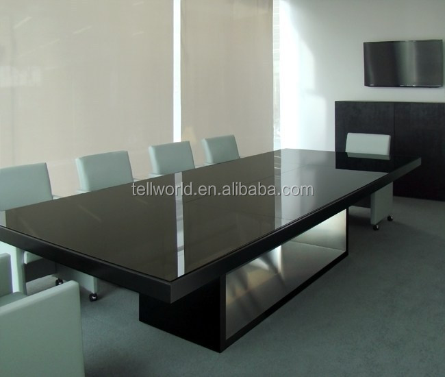 Oval Conference Desk With Outlets Solid Surface Meeting Table View - Large conference table for sale