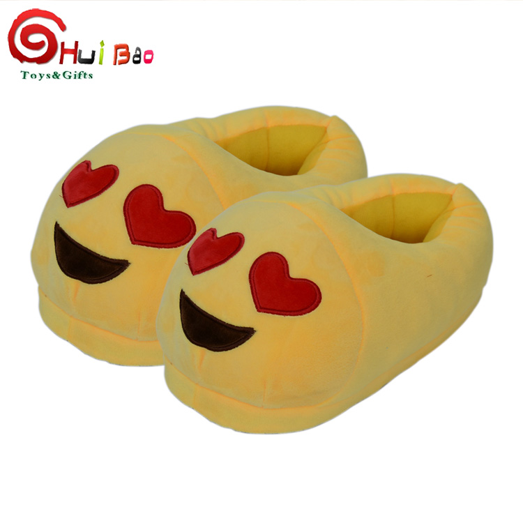 winter new creative 28cm free size cute emoji plush slippers for adults