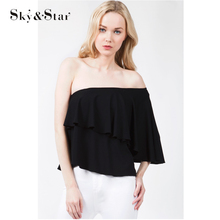 2017 New design ruffle layers off shoulder blouse tops for women