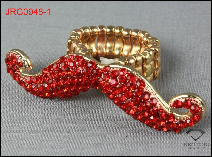 costume jewelry fashion red crystal beard stretch band ring