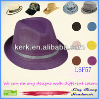 Top Quality Fashion Purple Fabric Fedora Hat,LSF57
