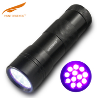 12 Led Aluminium Mini UV Flashlight,395nM uv light torch uv torch,blacklight uv led light