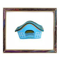 Blue super soft fabric pet house