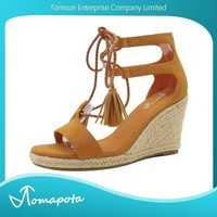 Women open toe braided lace up espadrille wedge platform sandal