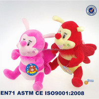 Good quality pink and red cute bee plush toy happy bee plush stuffed toys
