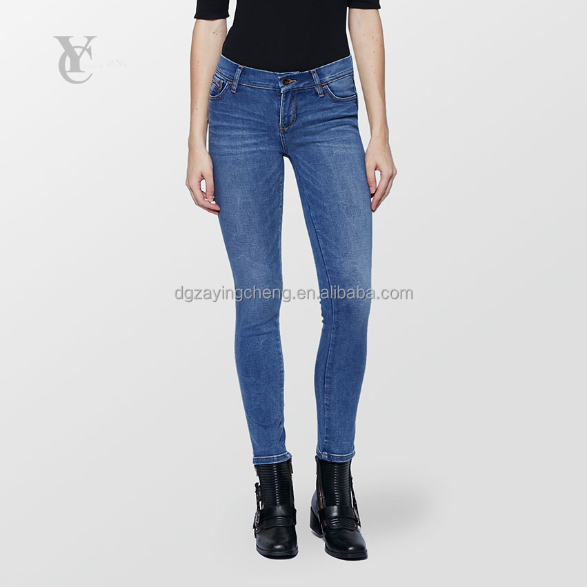 2017 ali baba imports from china blue washed new women jeans skinny denim, small hand brush effect with price of denim jeans
