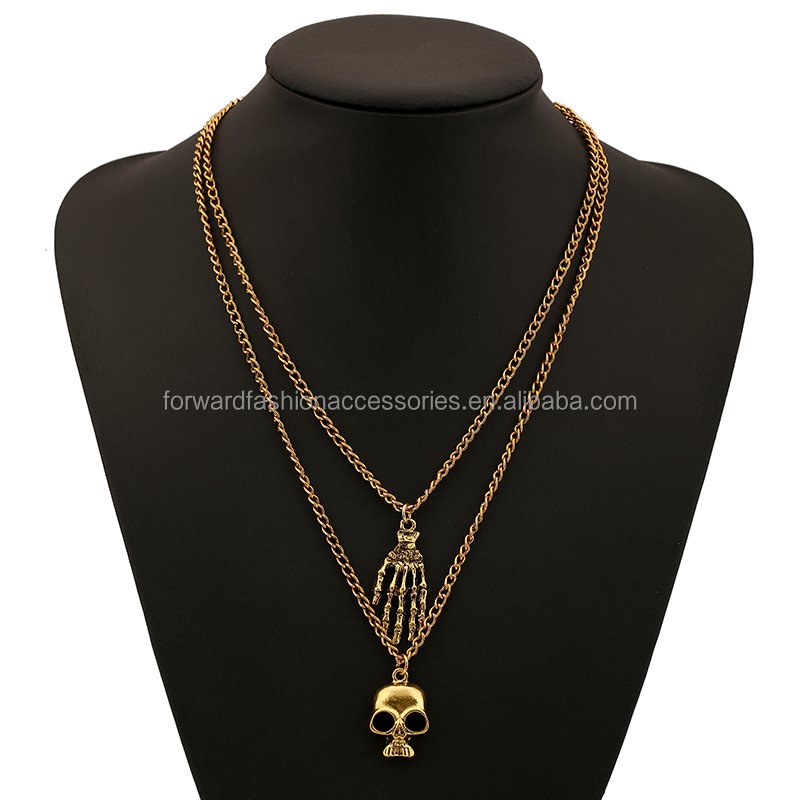 New Fashion Occident Skeleton Pendant Hip Hop Necklaces For Sweater Decoration