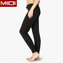 Newest womens gym wear striped mesh panels sweat pants women fitness wear