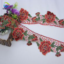 Hot Sales Hand embroidered flower decorative embroidery lace trim crochet lace fabric for Clothes