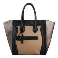 Hot selling european style smiley leather tote bag, cheap leather tote bags,plain leather tote bag